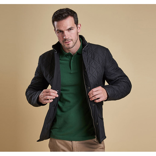 Barbour Men POWELL QUILTED JACKET Black Sale