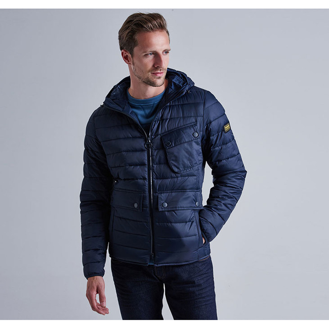 Barbour Men B.INTL OUSTON HOODED SLIM QUILTED JACKET Navy Sale