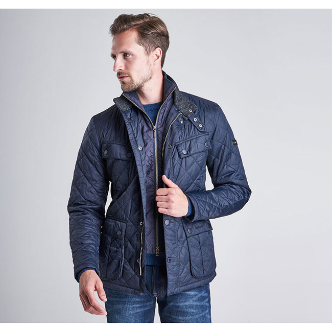 Barbour Men B.INTL WINDSHIELD TAILORED FIT QUILTED JACKET  Navy Sale