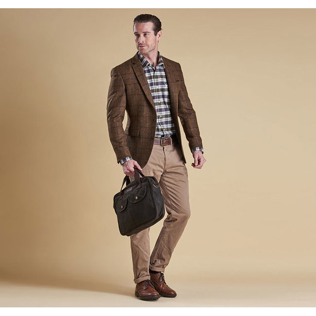 Barbour Men BELTEX TAILORED JACKET Brown/Green Check Sale