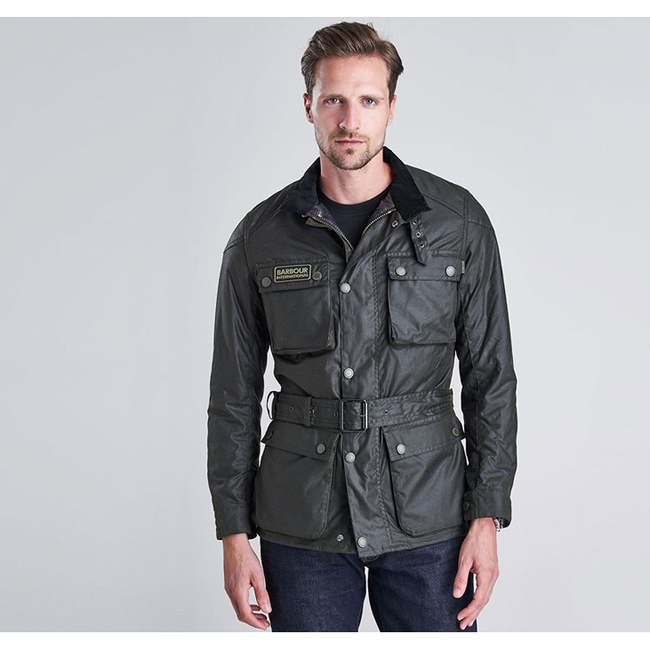 Barbour Men B.INTL BLACKWELL SLIM FIT WAX JACKET Sage Sale