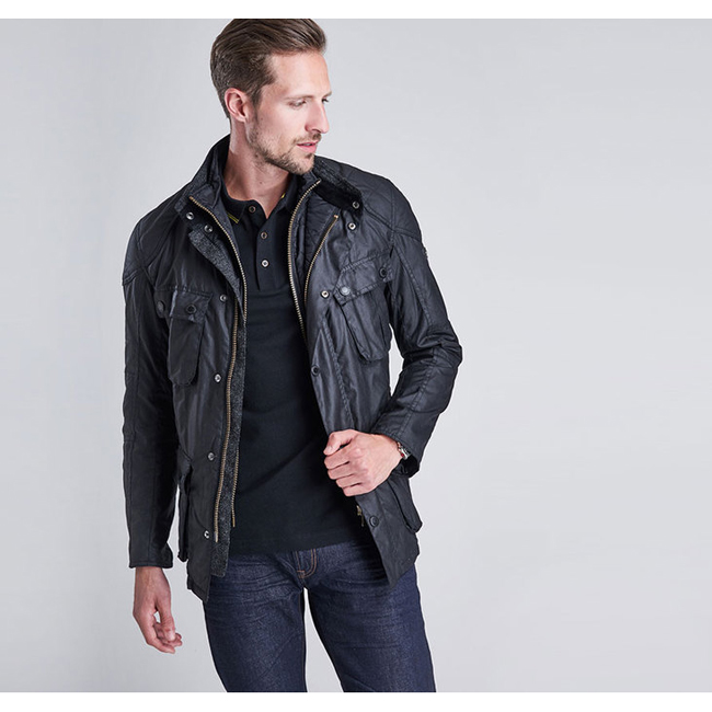 Barbour Men B.INTL GAUGE TAILORED FIT WAX JACKET Black Sale