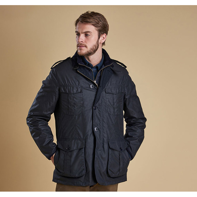 Barbour Men DOCK WAX JACKET Navy Sale