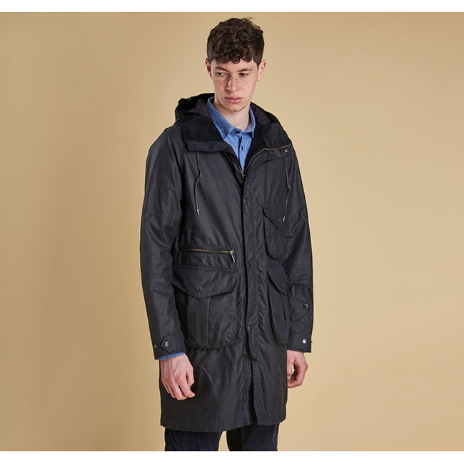 Barbour Men APUS WAX JACKET Navy Sale