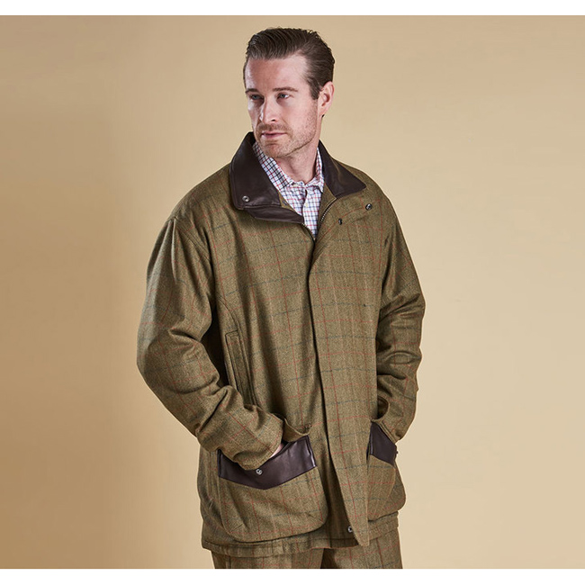 Barbour Men MOORHEN WATERPROOF WOOL JACKET Olive/Brn Check Sale