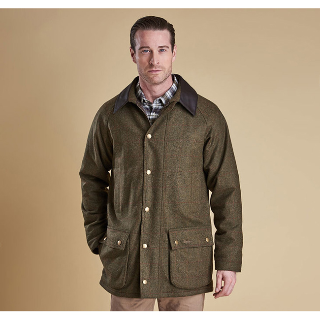 Barbour Men DOTTEREL WATERPROOF WOOL JACKET Olive/Rd/Yel Sale