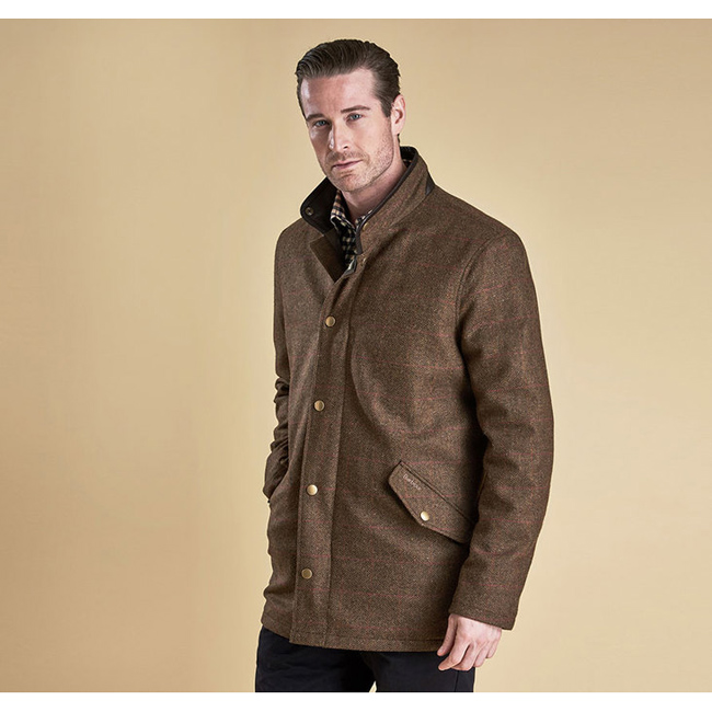 Barbour Men WIMBREL WOOL TWEED JACKET Olive/Re/Or  Sale