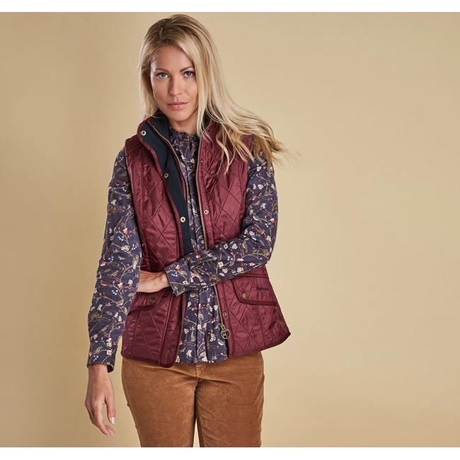 Barbour Women CAVALRY QUILTED GILET Rosewood/Navy Sale