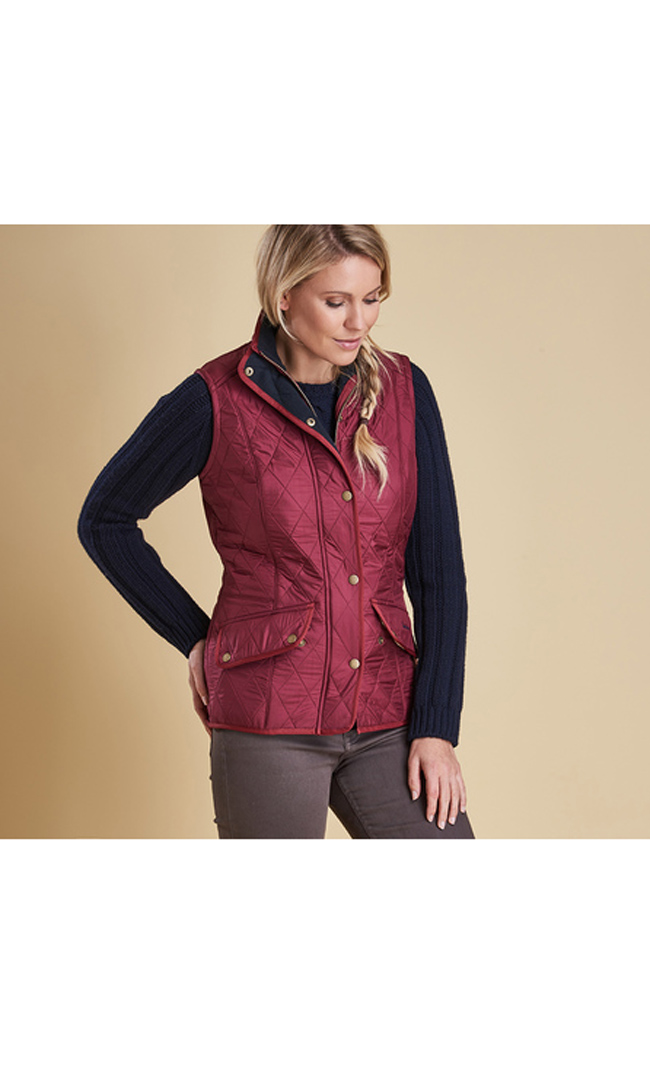 Barbour Women CAVALRY QUILTED GILET Burgundy Sale