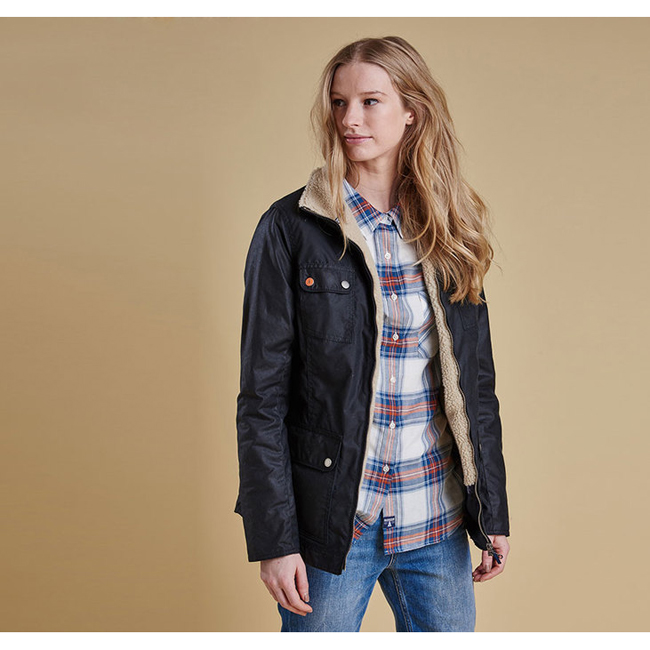 Barbour Women HOWMAN WAX JACKET Navy Sale