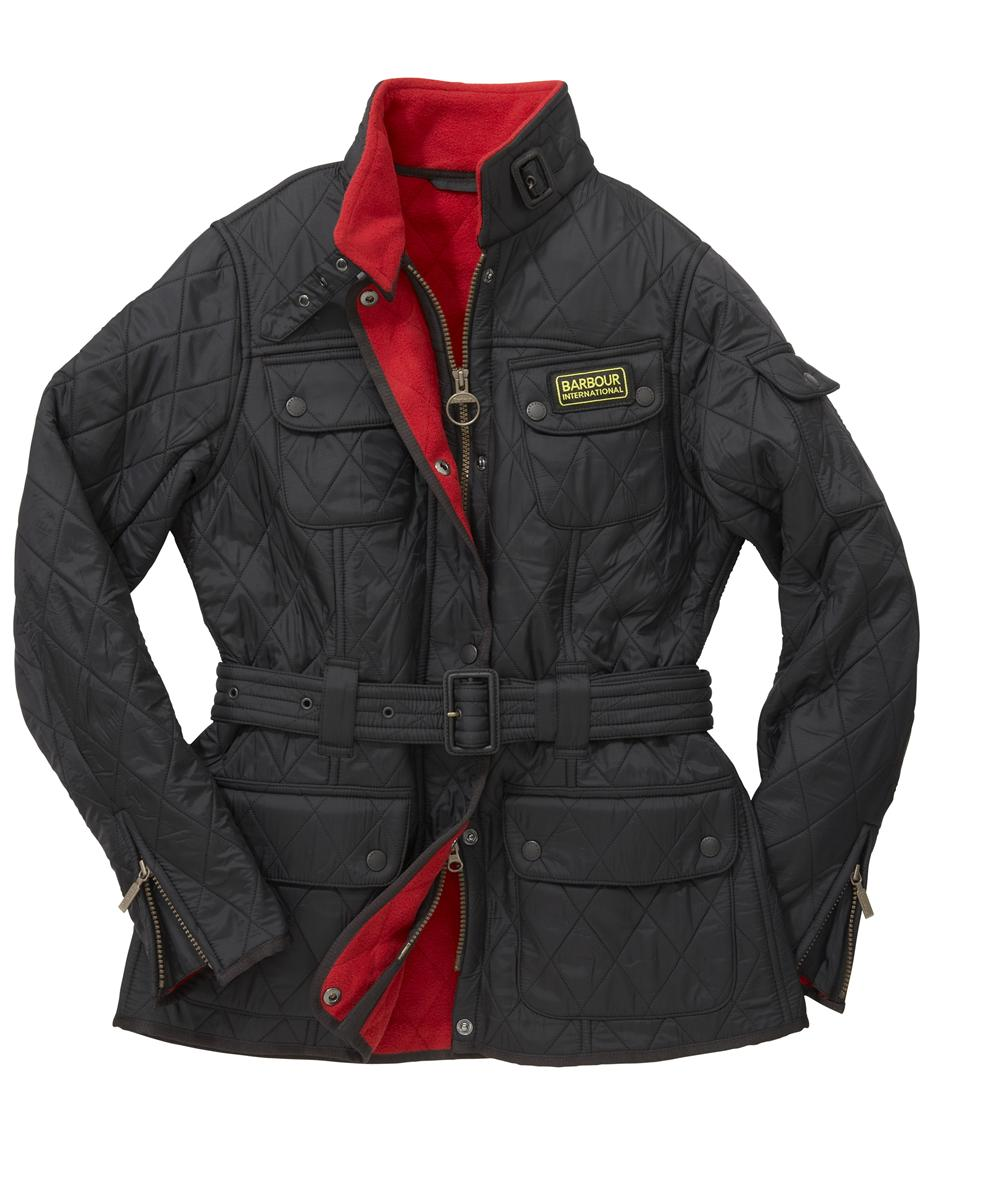 Cheap Barbour Ladies International Polarquilt Jacket Black | Red