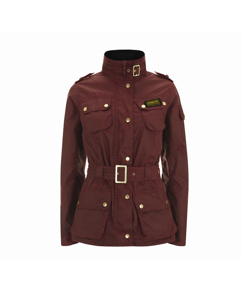 Cheap Womens Barbour Summer Waxed International Jacket - Red
