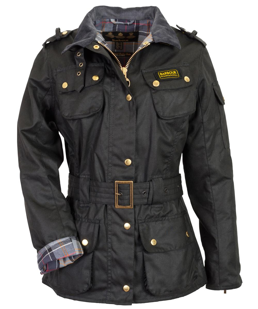 Cheap Ladies Barbour International Waxed Jacket- Black