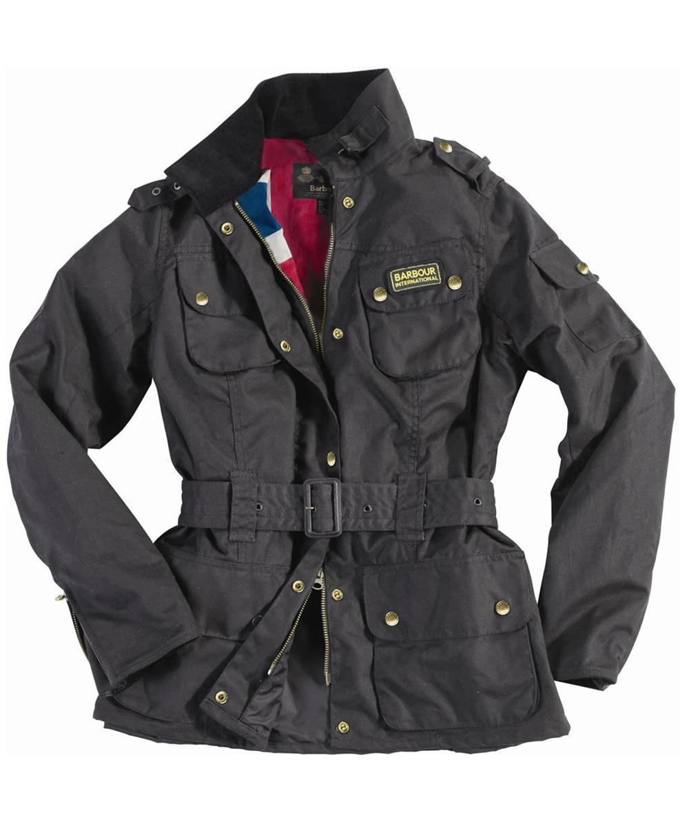 Cheap Barbour Ladies Union Jack International Waxed Jacket Black