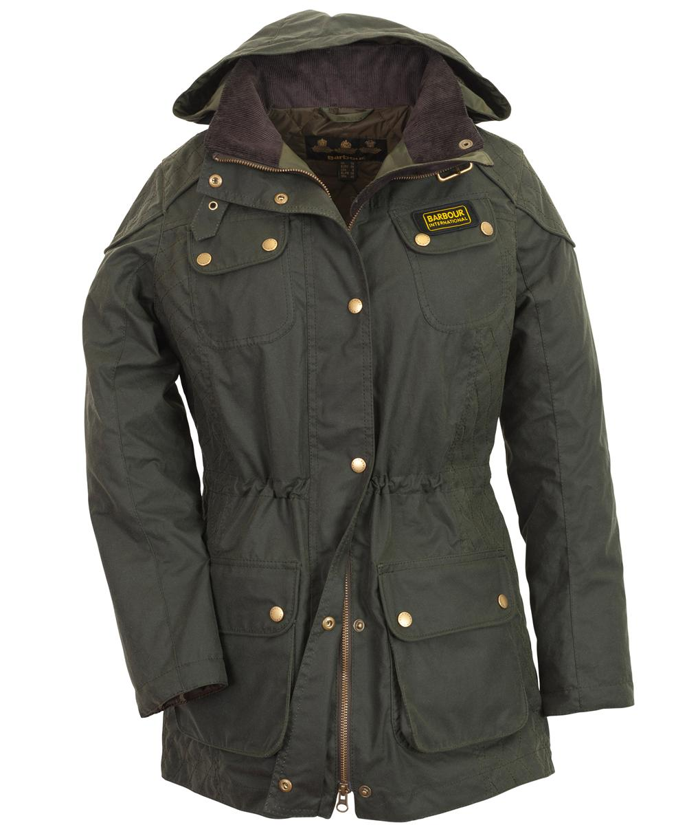 Cheap Womens Barbour Hawkstone Waxed Parka Jacket - Sage