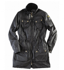 Cheap Barbour Ladies International Waxed Parka Jacket Black