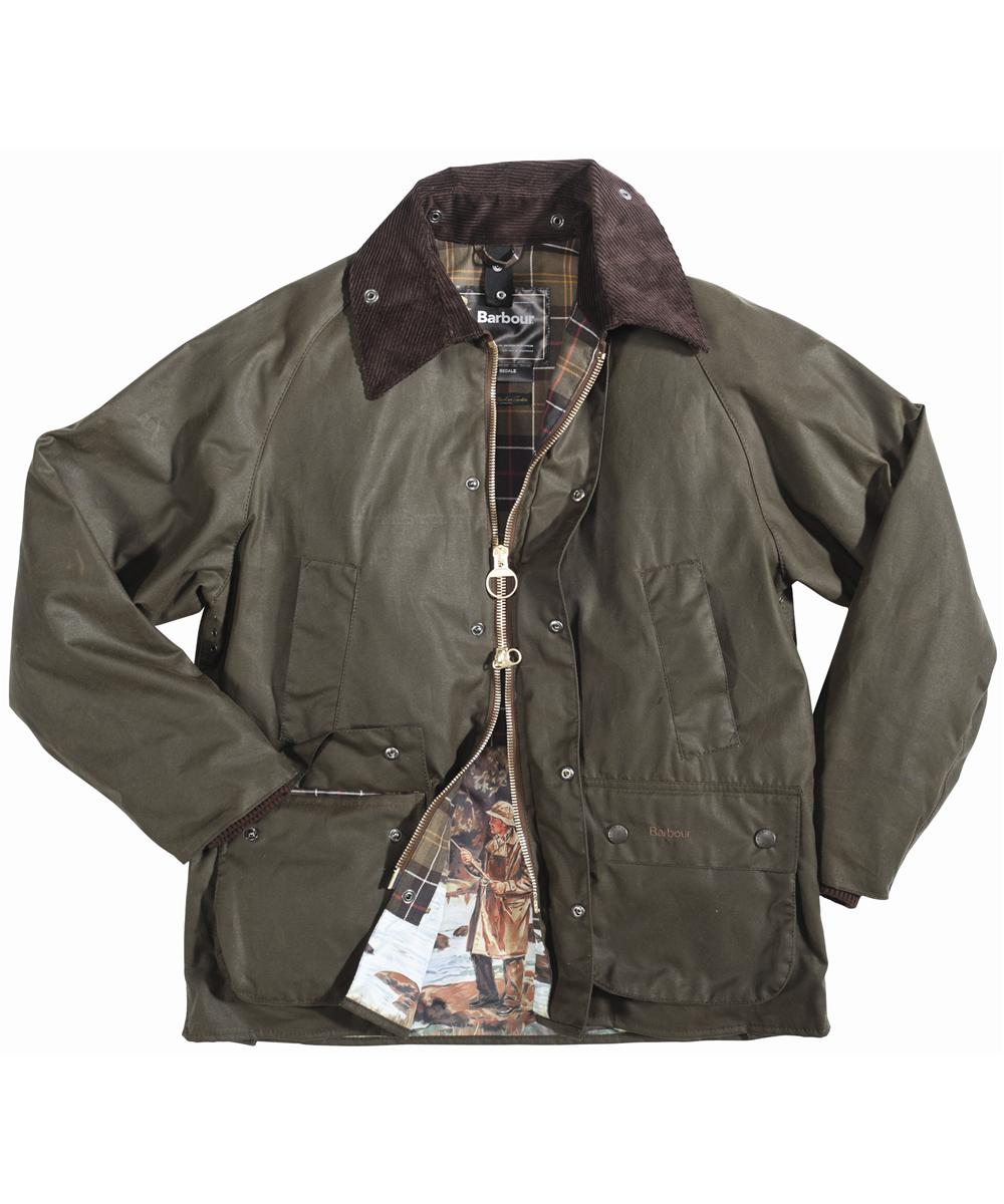 Barbour Beaufort Print Wax Jacket Olive In Discount
