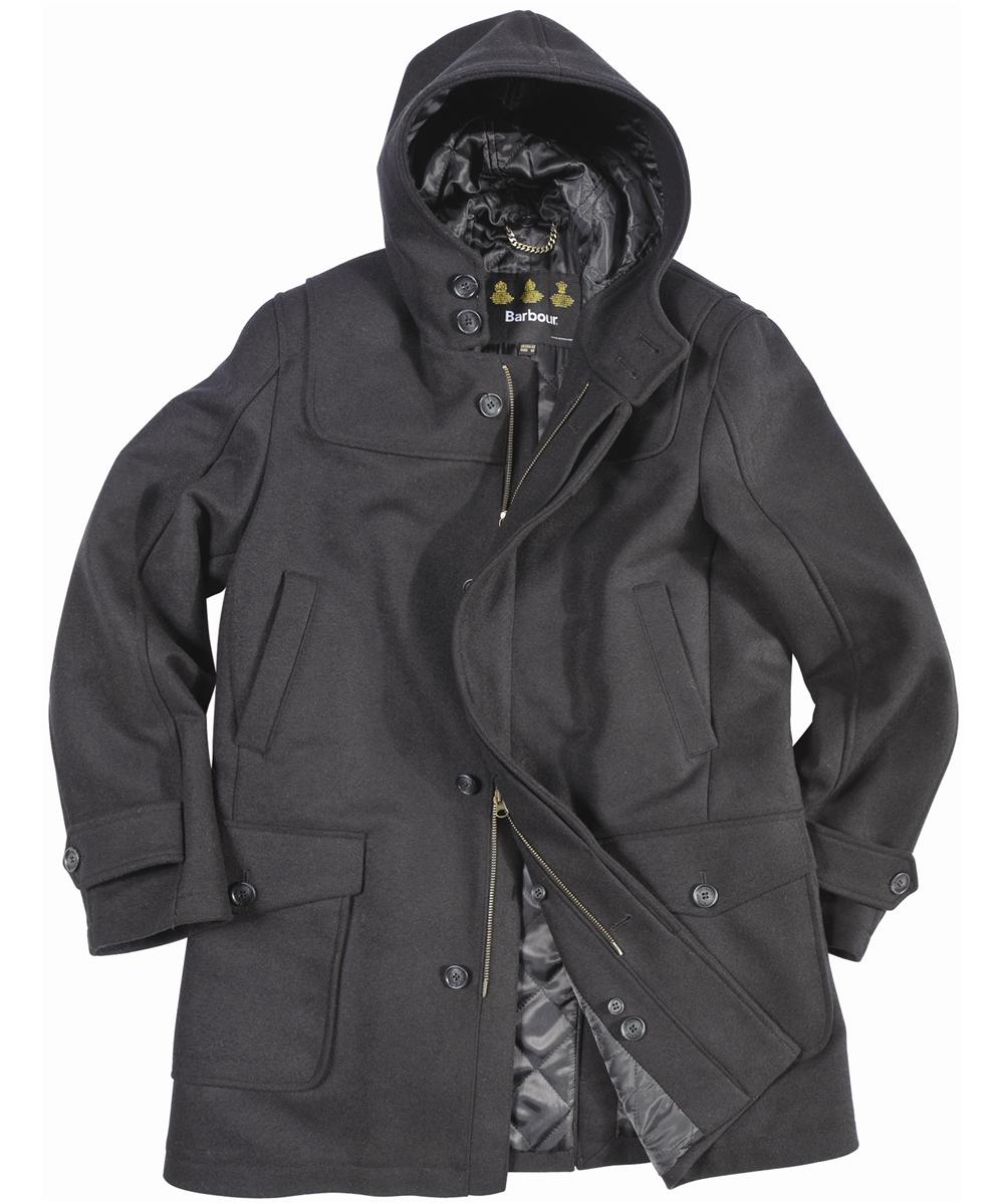 Barbour Mens Duffle Plain Coat- Black In Discount