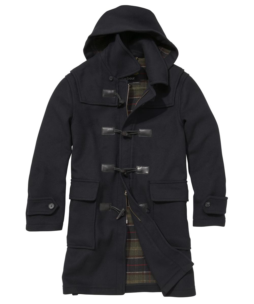 Barbour Mens Classic Duffle Long Coat- Navy In Discount