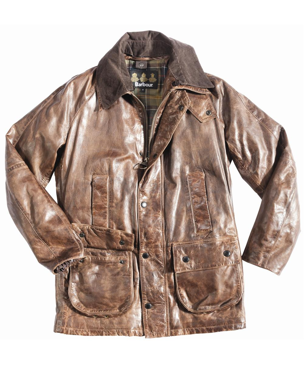 Mens Barbour Porchester Leather Jacket Brown In Discount