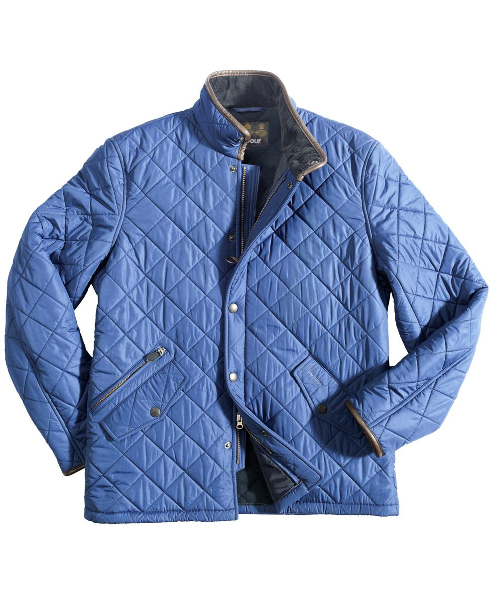 Mens Barbour Powell Quilted Jacket - Mid Blue In Discount