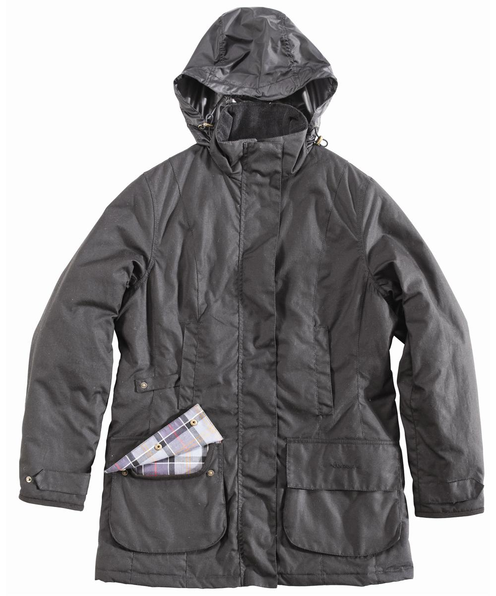 Womens Barbour Linley Waxed Jacket Black Sale