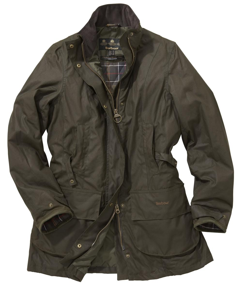 Womens Barbour Linley Waxed Jacket Olive Sale