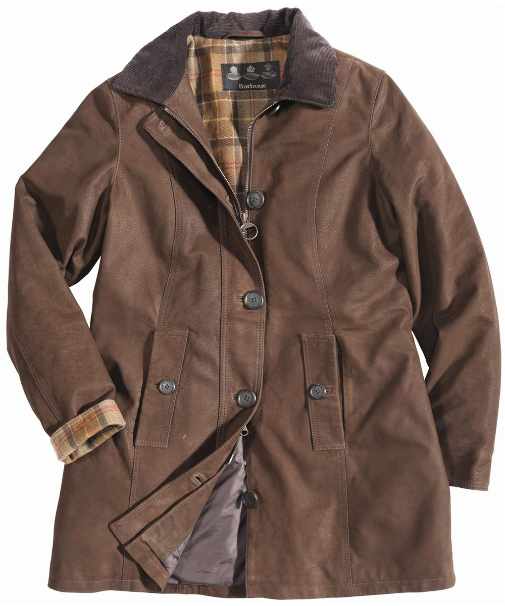 Womens Barbour Kirby Leather Coat Brown Sale