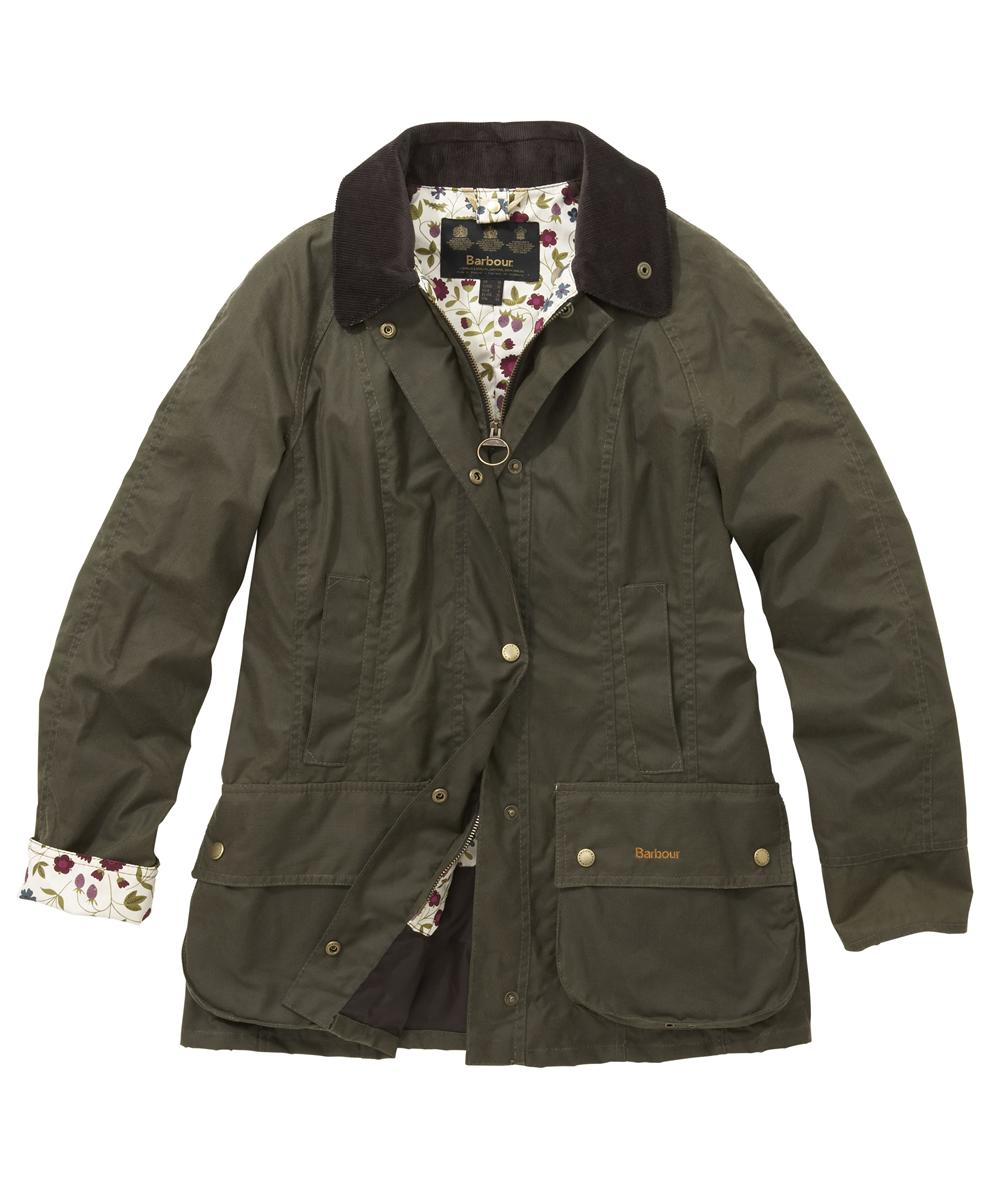 Womens Barbour Liberty Beadnell Waxed Jacket Mid Olive | Woodland Sale