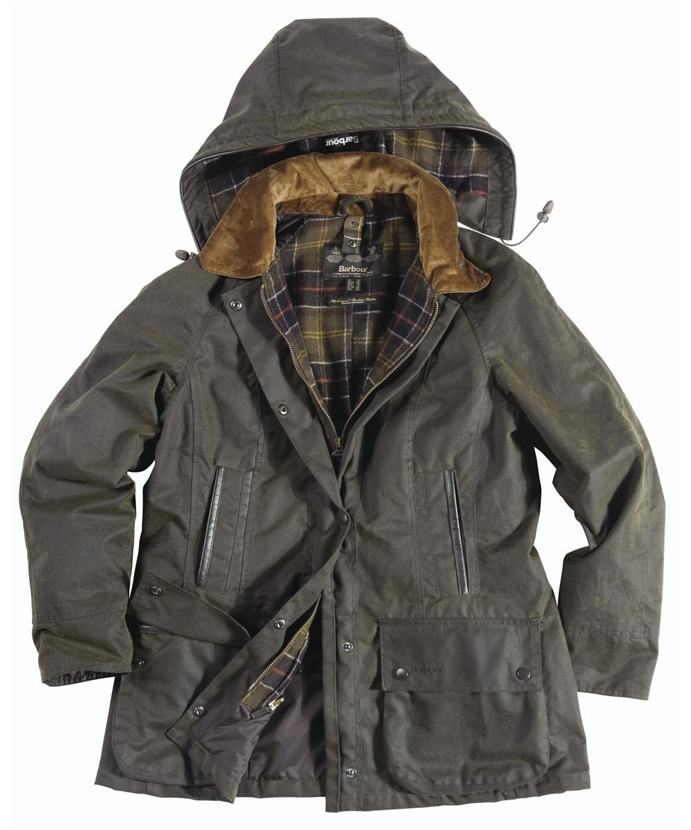 Barbour Ladies Beaufront Waxed Jacket Olive | Classic Tartan Sale