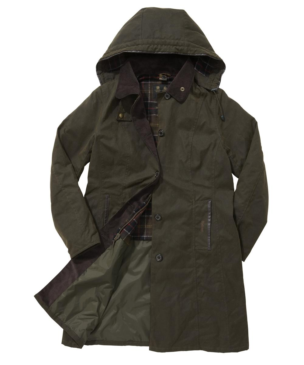 Barbour Bamburgh Waxed Jacket Olive | Classic Tartan Sale