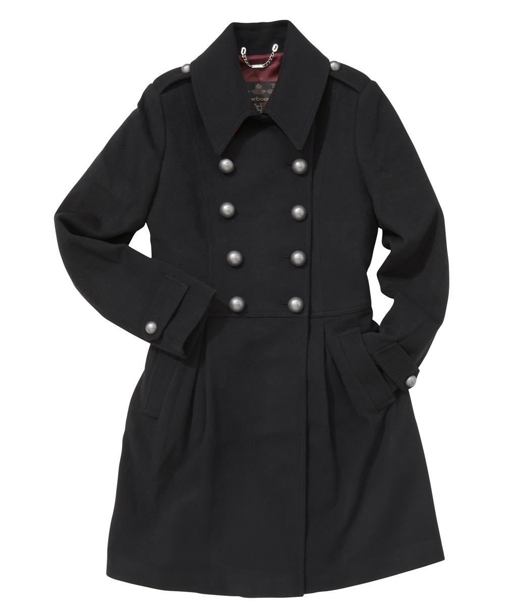 Womens Barbour Fusilier Wool Coat Black Sale