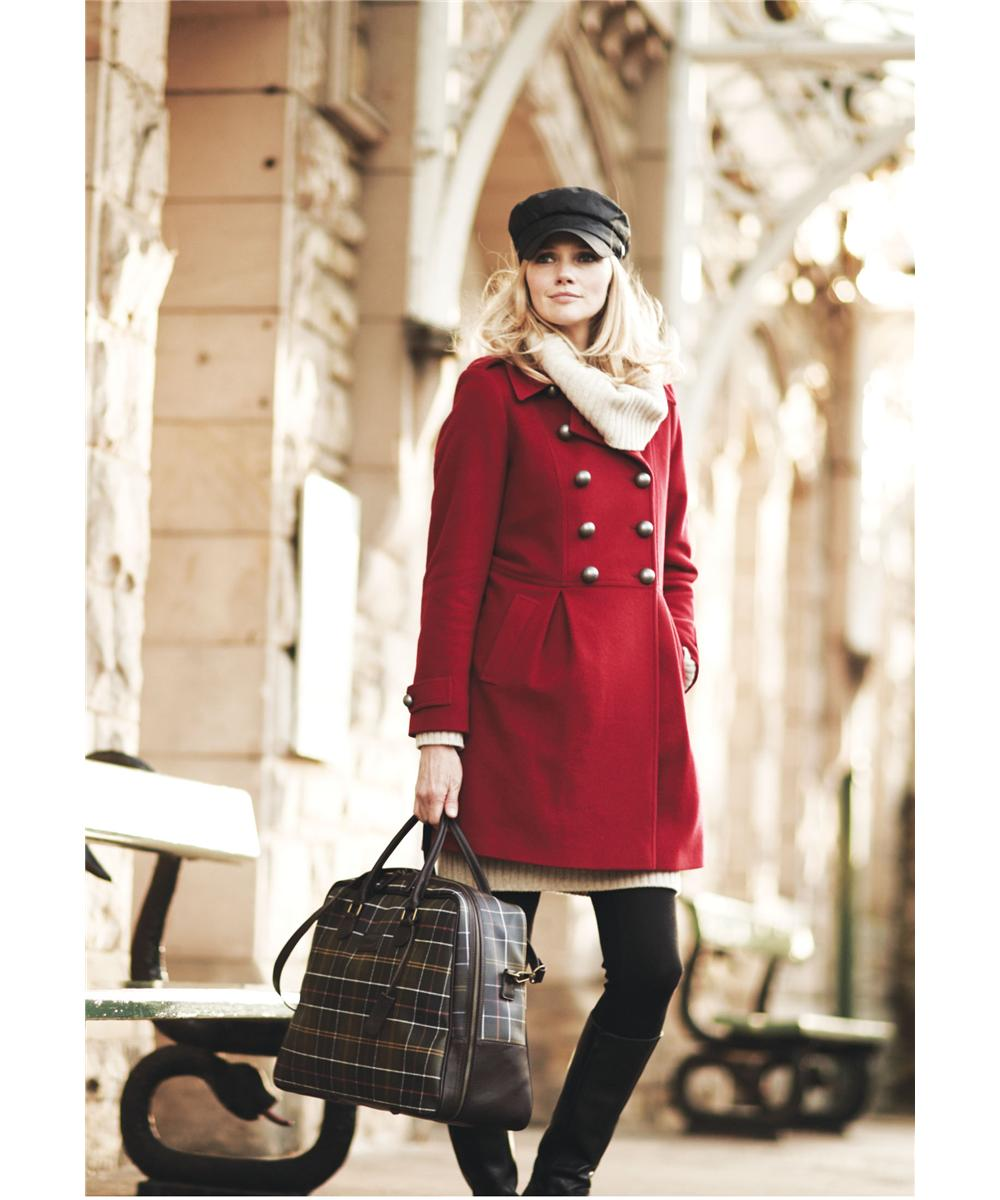 Womens Barbour Fusilier Wool Coat Red Sale