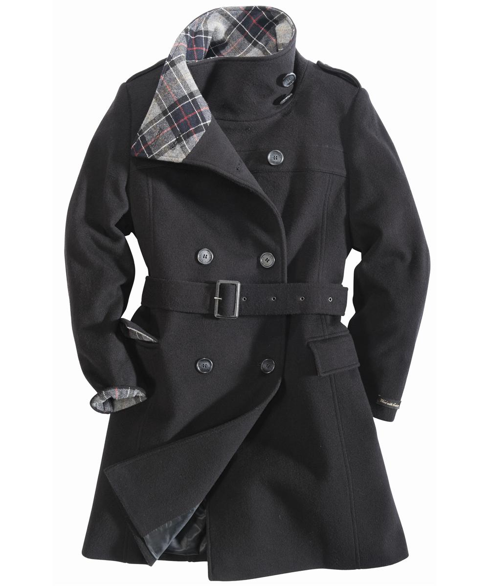 Womens Barbour Josie Wool Coat Black Sale