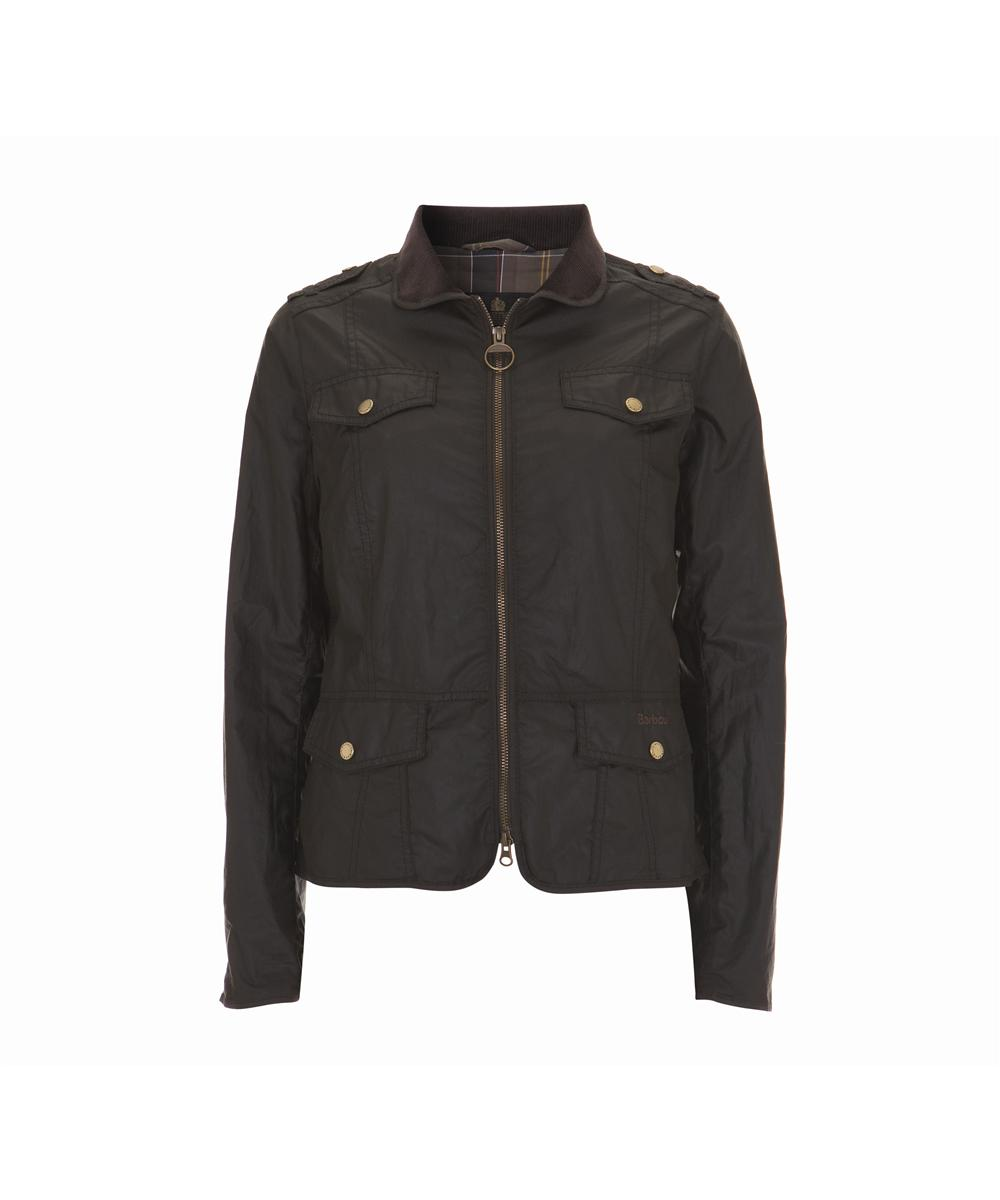 Womens Barbour Calgary Waxed Jacket - Olive Sale