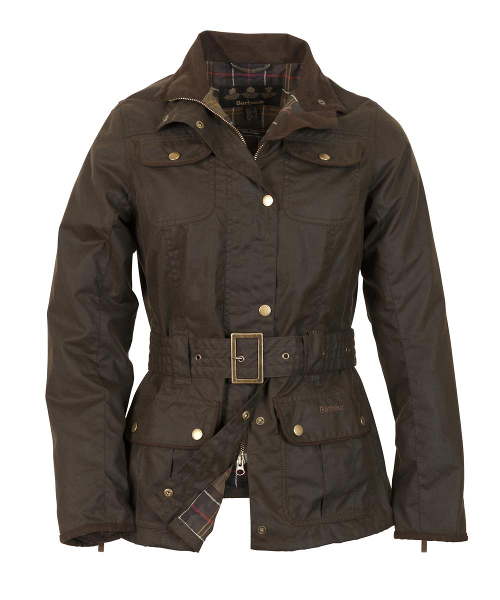 Womens Barbour Belted Utility Waxed Jacket - Olive Sale