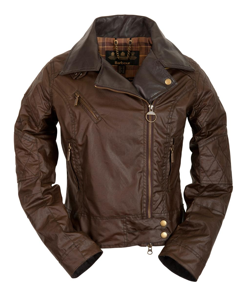 Womens Barbour Supercross Biker Waxed Jacket - Brown Sale