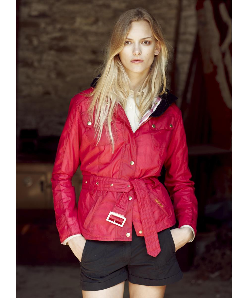 Womens Barbour Ignite Waxed Jacket - Raspberry Sale