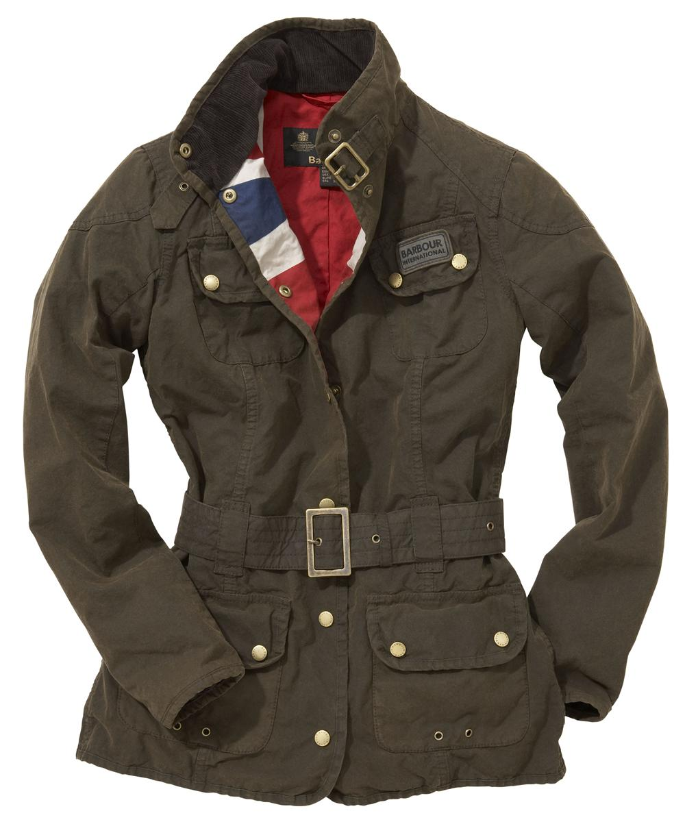 Womens Barbour Vintage International Waxed Jacket Olive